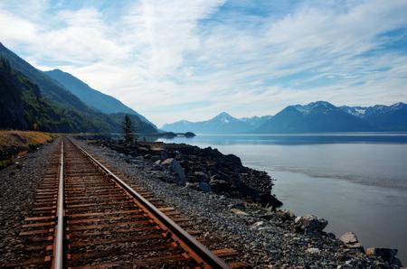 Alaska Train Track by the Water taken in 2015