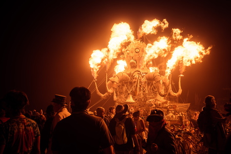 Black Rock Desert, USA - 2nd of September 2016: Burning Man taken in 2015 Imagens - 94698193