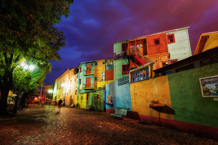 Public Square in La Boca, Buenos Aires, Argentina. Taken during sunset on April 9th 2015. taken in 2015 Editorial