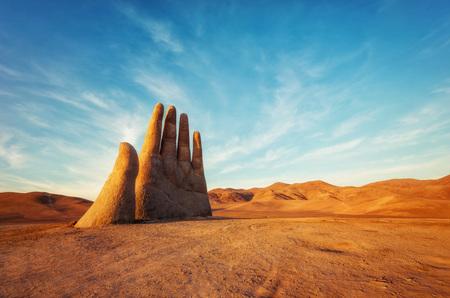 Mano del Desierto, Desert Hand, Chile, Next to Public Highway Stock Photo