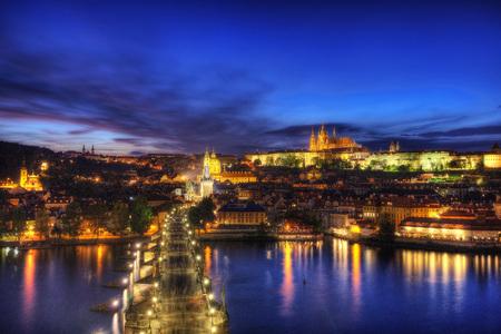 Prague Charles Bridge Sunset Stok Fotoğraf - 95883224