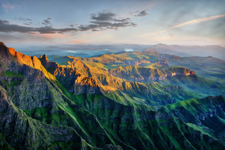 Drakensberg Amphitheatre in South Africa. Stock Photo