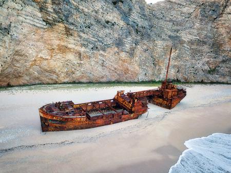 Zakynthos Shipwreck Beach from the Cliffs in Greece taken in Spring 2018