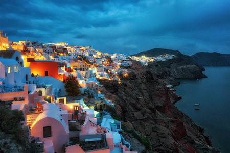Santorini, Greek Island in the Aegean taken in April 2018 Stock Photo