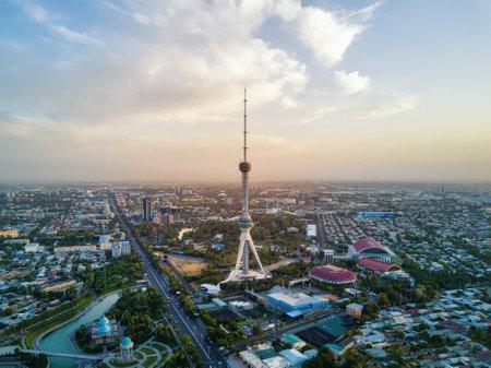 Tashkent TV Tower Aerial Shot During Sunset in Uzbekistan
