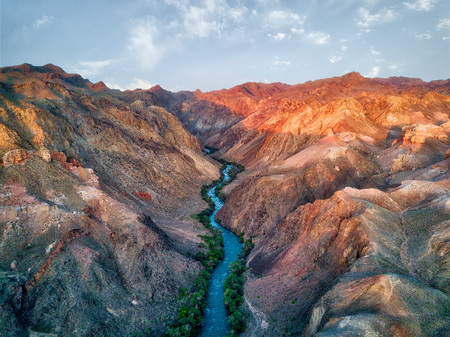 River through Charyn Canyon in South East Kazakhstan 版權商用圖片 - 119128303