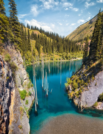 Kaindy Lake in South East Kazakhstan Stock Photo