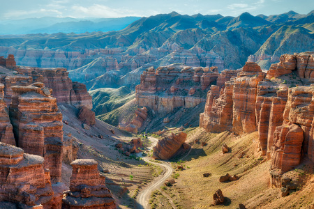 Charyn Canyon in South East Kazakhstan Standard-Bild - 118768767