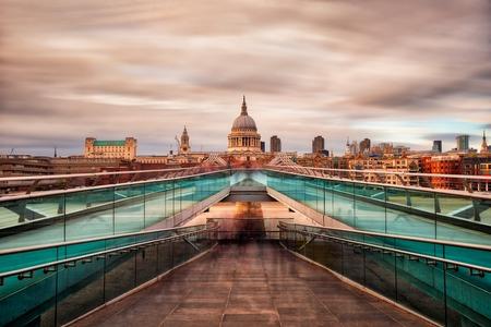 Millennium Bridge in London towards St Paul's Cathedral