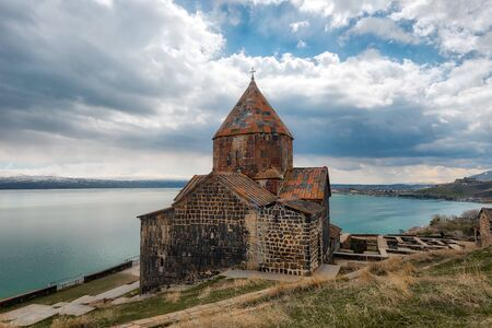 Sevanavank Monastry at Lake Savan in Armenia Imagens