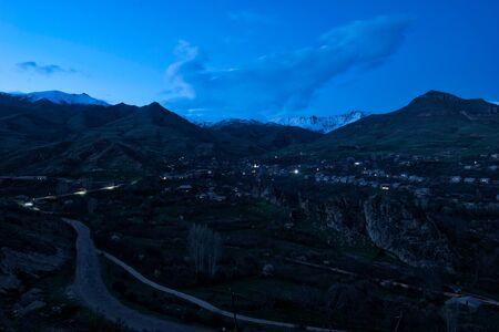 Armenian Mountain Village at Night