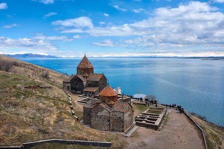 Sevanavank Monastry at Lake Savan in Armenia Imagens
