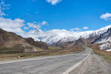 E117 Leading North in Georgia close to Gergeti Trinity Church and Mt Kazbek Imagens