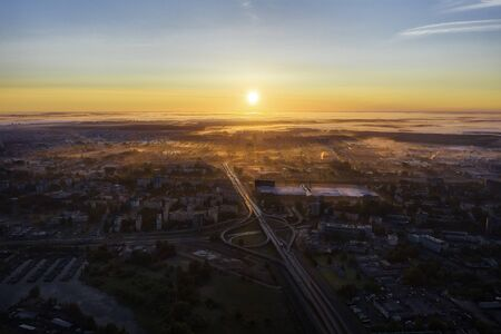 Sunrise over central Riga, Latvia, taken in May 2019 Reklamní fotografie
