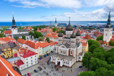 Aerial of central Tallinn, Estonia, taken in May 2019 Reklamní fotografie