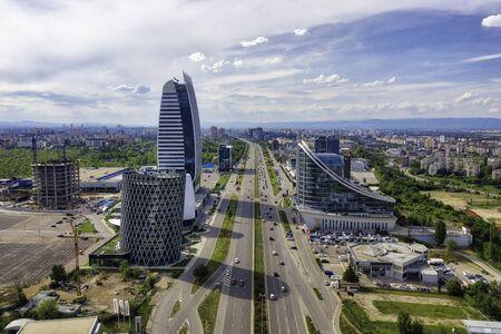 Wolkenkratzer im Geschäftsviertel von Sofia, Bulgarien, aufgenommen im Mai 2019