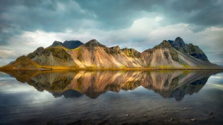 Vestrahorn Mountains by the Ocean in Eastern Iceland, post processed in HDR