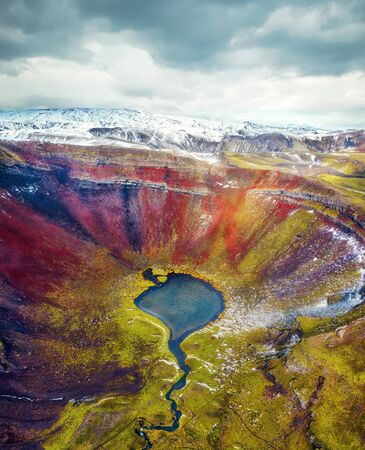 Volcanic Crater in the Highlands of Iceland Aerial, post processed in HDR 免版税图像