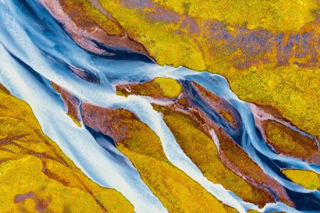 Colorful River Aerial taken in Southern Iceland, post processed in HDR 免版税图像