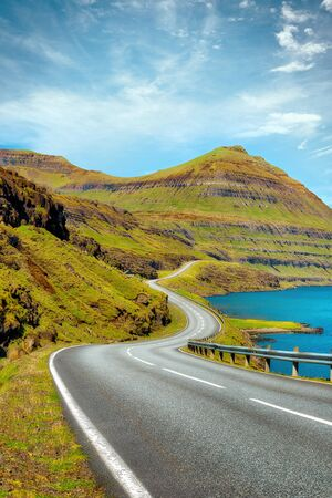 Bendy Coastal Road on the Faroe Islands, post processed in HDR