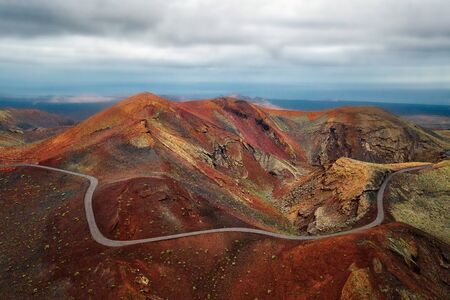 Volcanos in Timanfaya National Park on Lanzarote, Spain, post processed in HDR