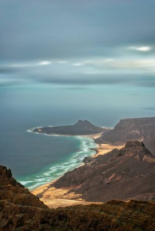 Sao Vicente Coastline from Monte Verde, Cape Verde, post processed in HDR 免版税图像