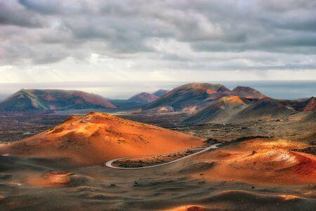 Volcanos in Timanfaya National Park on Lanzarote, Spain, post processed in HDR