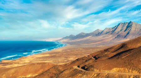 Cofete Beach on the Southern Tip of Fuerteventura during Sunset, post processed in HDR