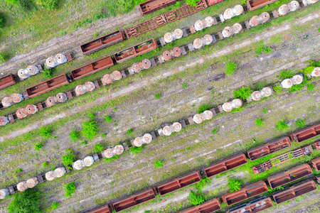 Overhead old deserted train yard in central Romania, taken in May 2019 新闻类图片