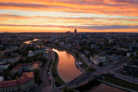 Sunset over central Vilnius, Lithuania, taken in May 2019