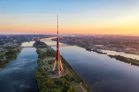Sunrise over central Riga, Latvia, taken in May 2019 新闻类图片