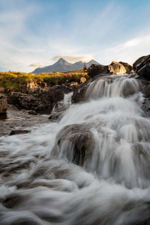 Sligachan Waterfalls on the Isle of Skye, Scotland, taken in August 2020, post processed using exposure bracketing 免版税图像