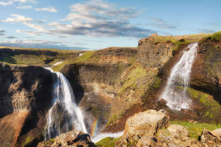 Haifoss Waterfall in the Highlands, Iceland, taken in August 2020, post processed using exposure bracketing