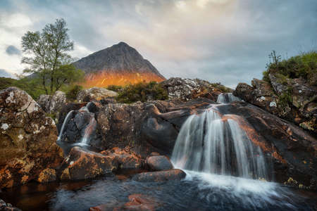 Stob Dearg Waterfall during Sunrise in Scotland, taken in August 2020, post processed using exposure bracketing