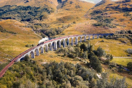Steam Train on Glenfinnan Viaduct in Scotland in August 2020, post processed using exposure bracketing