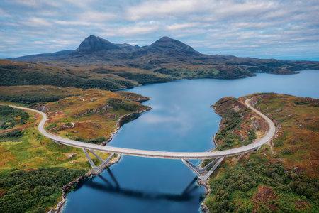 Kylesku Bridge along the NC500 in Northern Scotland, taken in August 2020, post processed using exposure bracketing