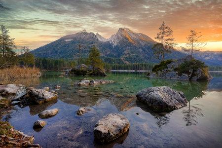 Hinter-See in southern Bavaria, Germany, taken in December 2020, post processed using exposure bracketing Imagens