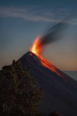 Volcano de Fuego seen from Acatenango in Guatemala, post processed using exposure bracketing