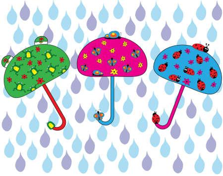 rana caricatura: conjunto Happy Umbrella