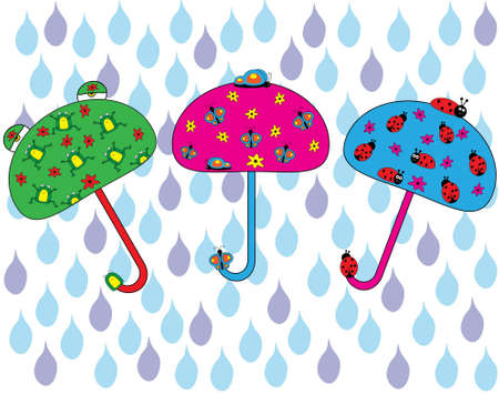 happy umbrella set Vector