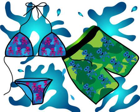 girls bathing: bathing suit with skulls