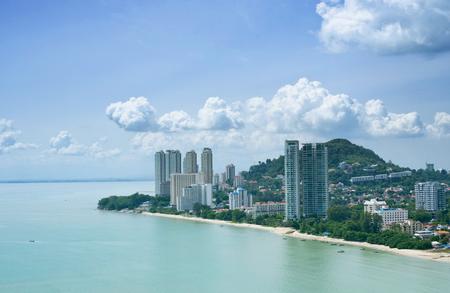 Aerial View of Batu Ferringhi Beach, Penang, Malaysia Stock Photo
