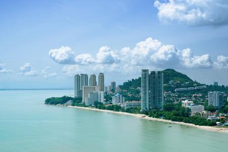 pinang: Aerial View of Batu Ferringhi Beach, Penang, Malaysia Stock Photo