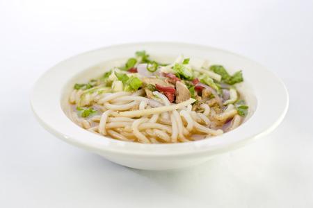 laksa: Penang Asam Laksa of traditional Nyonya food served at Malaysian local famous restaurant