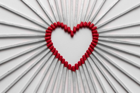 symbolic: Matches which are assembled to a symbolic heart