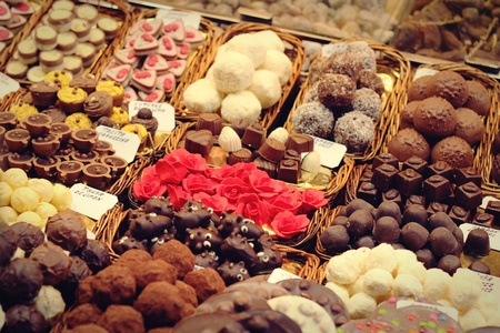 Selection of delicious sweets at Mercat de Sant Josep de la Boqueria - Barcelona, Spain