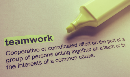 combined effort: Definition of teamwork, highlighted in colour