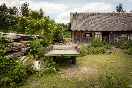 wooden hut: Rural landscape with a wooden hut - Spreewald, Germany Stock Photo