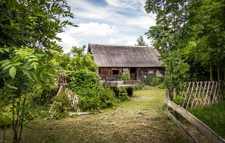 Rural landscape with a wooden hut - Spreewald, Germany Stock Photo