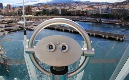santa cruz de tenerife: Telescope on a cruise ship overlooking Santa Cruz de Tenerife - Canary Islands, Spain